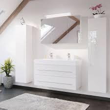 bad möbel set mit 100cm doppel waschtisch in hochglanz weiß lissabon 0