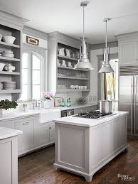 stylish light gray kitchen cabinets and room color for gray