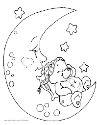 Care Bear Color Page Bears Cartoon Characters Coloring Pages Plate