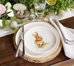 Pasture Bunny Salad Plate Mixed Set of 4