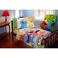 amazon com sesame street scribbles 4 piece toddler bedding set