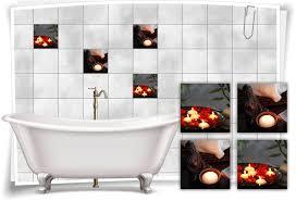 fliesen aufkleber spa wellness orchidee kerze wasser schalle buddha bad wc deko