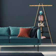 leiterregal mit 5 böden bad flur wohnzimmer bambus mdf anstellregal m 7 haken 160 x 90 x 38 cm weiß