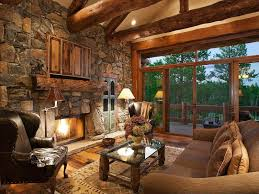Interior Rustic Living Room With Stone Fireplace Exposed Beams