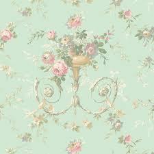 light blue floral urn sidewall wallpaper