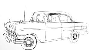 Line Drawing Of The Above Classic Car Ready For Shading Or Coloring