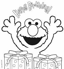Picture Elmo Birthday Coloring Pages 84 On Print With