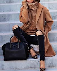 Ripped Black Jeans An Ocher Coat And Sweater Leopard Shoes