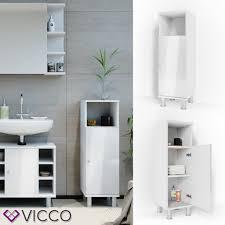 vicco badschrank fynn 95 x 30 cm weiß hochglanz midischrank badezimmerschrank badmöbel schrank regal badregal