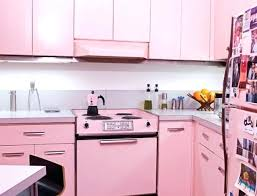 Baby Pink Kitchen Appliances Light Gray Tile And White Under Wooden Cabinet Facing Dining