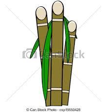 Sugar Cane Cartoon Illustration Showing Three Stalks Of