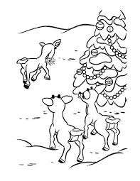 Rudolph Reindeer Friends And Christmas Tree Coloring Page