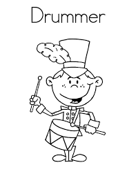 Smiling Drummer Boy Colouring Page