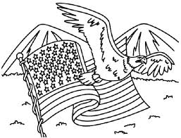 Independence Day American Flag And Eagle For Coloring Pages