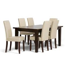 Simpli Home Acadian 7-Piece Dining Set With 6 Upholstered Parson Chairs In  Satin Cream Faux Leather And 66 In. Wide Table Ding Room Interesting Chair Design With Cozy Parson Chairs Slauson Dinette With Brown Sets Best Home Furnishings 9800e Odell Parsons Side Antonio Set W Berkley Muses 5piece Rectangular Table By Progressive Fniture At Wayside Simple Living Giana Details About Master Shiloh Modern Bi Cast Of 4 5 Piece And Hillsdale Wolf Gardiner Better Homes Gardens Tufted Multiple Lovely For Ideas