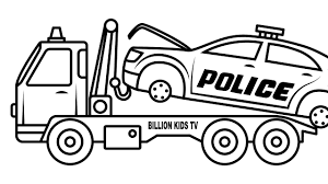 Broken Police Car Carrier Truck Coloring Pages, Colors For Kids ... Tow Truck Coloring Page Ultra Pages Car Transporter Semi Luxury With Big Awesome Tow Trucks Home Monster Mater Lightning Mcqueen Unusual The Birthdays Pinterest Inside Free Realistic New Police Color Bros And Driver For Toddlers