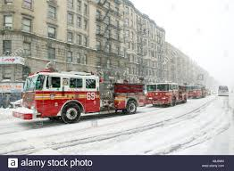 100 Trucks In Snow Red FDNY Fire Trucks Drive Through A Snow Storm In Harlem New York