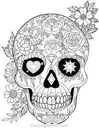 Free Printable Sugar Skull Day Of The Dead Adult Coloring Page Download It