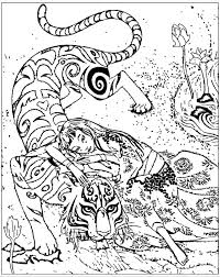 Free Coloring Page Adult Inspired By Book Tiger Devoted