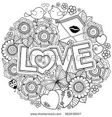 Vector Coloring Book For Adult Design Wedding Invitations And Valentines Day Of Abstract Flowers