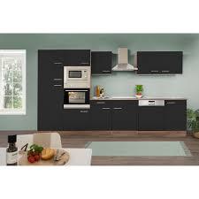 respekta küchenzeile kb340eysmigke 340 cm schwarz eiche york nachbildung