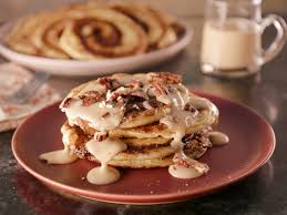 Bobby Flay Pumpkin Bread Pudding by Cinnamon Bun Pancakes With Maple Cream Cheese Glaze Recipe