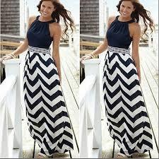 Boho Chic Maxi Dress Bohemian Style Hippie Black And White Striped