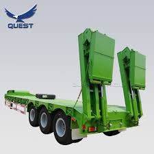 100 Truck Bed Ramp Hot Item Quest 3 Axle 70tons Africa Low Semi Trailer With Hydraulic