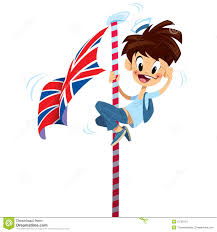 Flagpole Christmas Tree Uk by Cartoon Excited Happy Smiling Boy Climbing On English Flag Pole