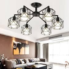 moderne kronleuchter metall schwarz käfig decke le nordic leuchten küche luminiare schlafzimmer wohnzimmer home beleuchtung le