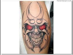 Clown Red Eyes Skull Tattoo