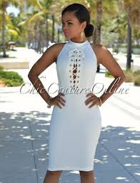 chic couture online zinnia off white gold accents body con dress