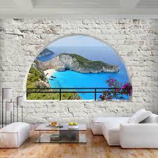 details zu vlies fototapete steinwand strand meer fenster tapete wandbilder wohnzimmer
