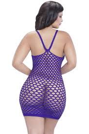 purple silver plus size seamless cut out design dress lingerie