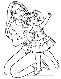 BARBIE COLORING PAGES OF WITH KELLY