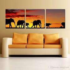 großhandel handgefertigte 3 panel leinwandbilder afrikanische elefant gemälde großhandel leinwand malerei ideen dekoration der wände im schlafzimmer