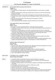 Mental Health Clinician Resume Samples Velvet Jobs With Job Description For And
