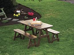 amazon com outdoor 6 foot pine picnic table with 2 benches