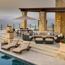 Portofino Patio Furniture Manufacturer by Villa Swimming Pool Party Rattan Sofa With Dining Set And Chaise