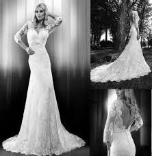 New Arrive Noble White Ivory Lace Long Sleeve Mermaid Wedding Dress