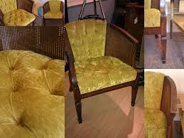 vintage mid century barrel chair with chartreuse crushed velvet