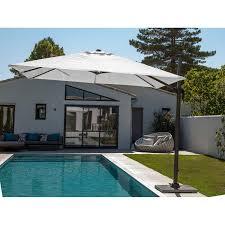 parasol excentré roma ecru carré l 300 x l 300 cm leroy merlin