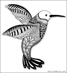 Hummingbird Abstract Doodle Zentangle Coloring Pages Colouring Adult Detailed Advanced Printable Kleuren Voor Volwassenen Coloriage Pour