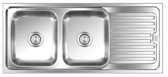 double bowl sink with drainboard 2107