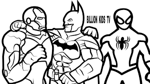Iron Man And Batman Vs Spiderman Coloring Book Pages Kids Fun Art Activities Video For