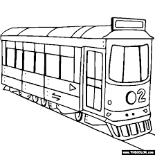 Trolley Street Car Online Coloring Page