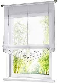 eslir raffrollo mit schlaufen raffgardinen gardinen küche transparent schlaufenrollo vorhänge bestickt modern voile grau bxh 100x140cm 1 stück