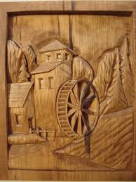 Pumpkin Carving Dremel Bit by Dremel Etched Wood Country Mill And Water Wheel Hand Carved Wood