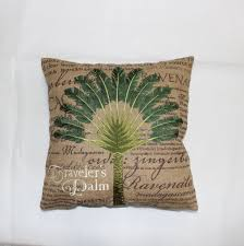 US $19.1 |VEZO HOME Embroidered Palm Tree Burlap Sofa Cushions Cover Throw  Pillows Cover Chair Seat Pillow Case Home Decorative 18x18