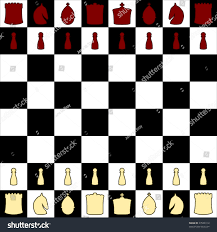 Vector Chess Board With Symbolic Pieces In Red And Cream Showing Opening Layout